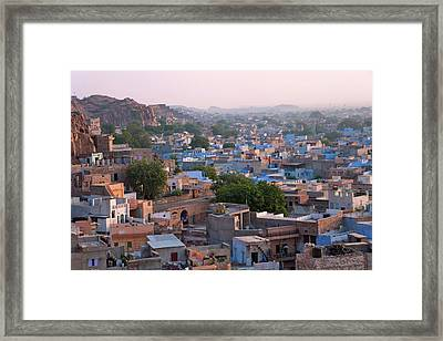 Cityscape Of Blue Houses In The Blue Framed Print by Keren Su