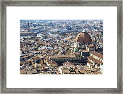 Cityscape Of Florence Framed Print by Sami Sarkis