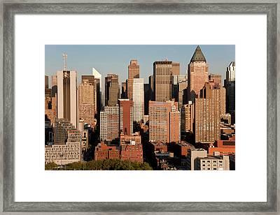 Cityscape Of Midtown Manhattan, New Framed Print