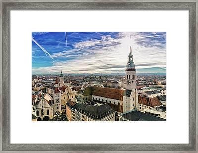 Cityscape Of Munich Framed Print by Michael Fellner