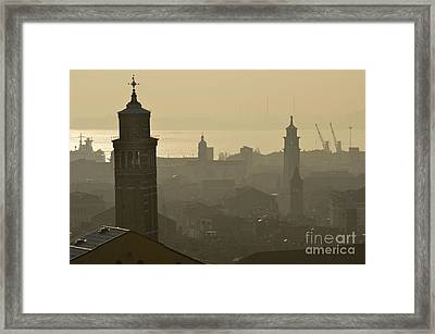 Cityscape Of Venice And Cranes Silhouettes Framed Print by Sami Sarkis