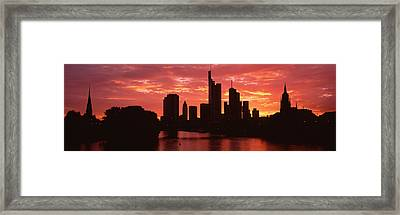 Cityscape, Rhine River, Frankfurt Framed Print