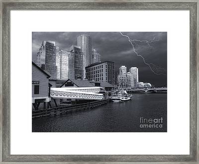 Framed Print featuring the photograph Cityscape Storm by Gina Cormier