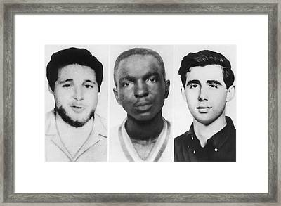 Civil Rights Workers Murdered Framed Print by Underwood Archives