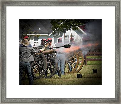 Framed Print featuring the photograph Civil War Cannon Fire by Ray Devlin