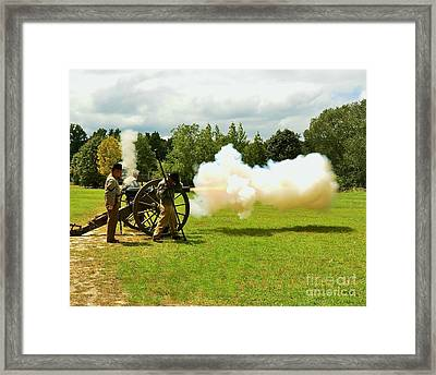 Civil War Canon Firing  Framed Print by Bob Sample