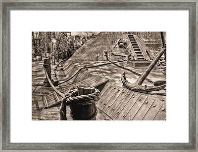 Civil War Ironclad Black And White Framed Print by JC Findley
