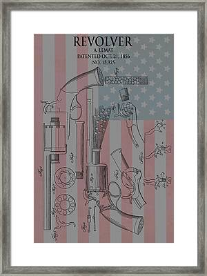 Civil War Revolver American Flag Framed Print