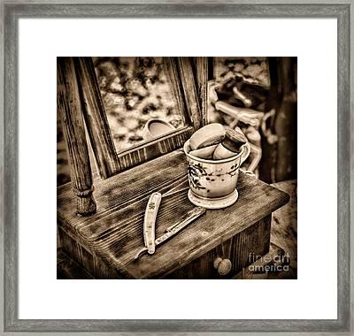 Civil War Shaving Mug And Razor Black And White Framed Print by Paul Ward