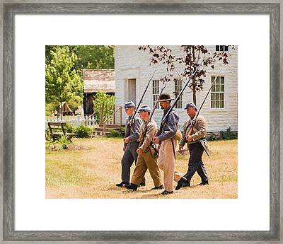 Civil War Soldiers Marching  Framed Print by Chris Bordeleau