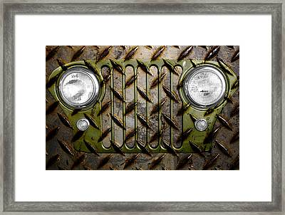 Civilian Jeep- Olive Green Framed Print by Luke Moore