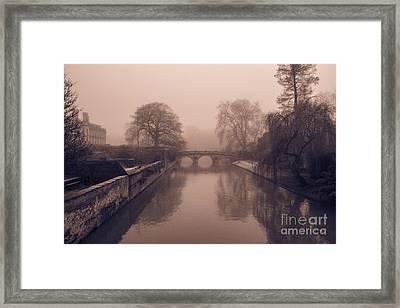 Claire College Bridge Cambridge Framed Print by David Warrington