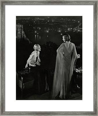 Claire Coulter And Avis Newcomb Wearing Evening Framed Print