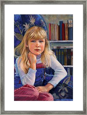Girl In Wingback Chair Framed Print
