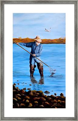Clam Digger Framed Print by Gino Didio