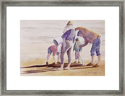 Framed Print featuring the painting Clam Diggers by John  Svenson