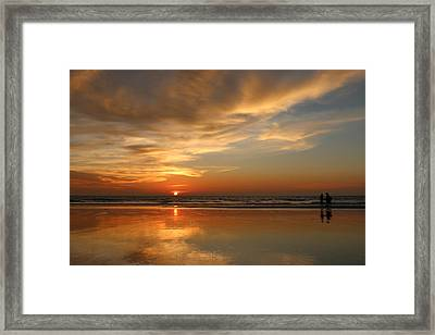Clam Digging At Sunset - 4 Framed Print