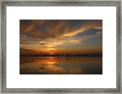 Clam Digging At Sunset -1  Framed Print