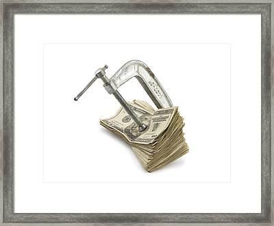 Clamp Putting Pressure On American Money Concept Framed Print by Keith Webber Jr
