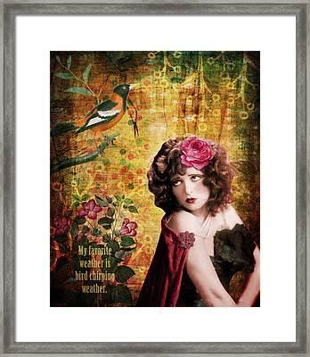 Clara Bow And The Bird Framed Print