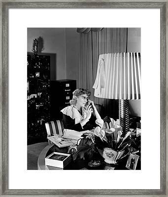 Clare Boothe Luce At Her Desk Framed Print by Horst P. Horst