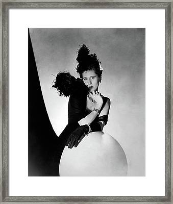 Clare Boothe Luce Wearing Feathers Framed Print by Horst P. Horst
