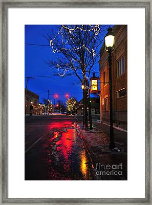 Clare Michigan At Christmas 9 Framed Print by Terri Gostola