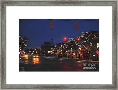 Clare Michigan At Christmas  Framed Print by Terri Gostola
