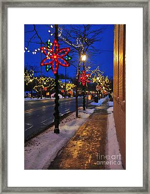 Clare Michigan Decorated For Christmas 2 Framed Print by Terri Gostola