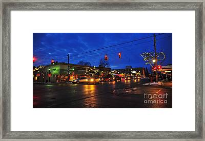 Clare Michigan Decorated For Christmas Framed Print by Terri Gostola