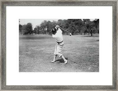 Clarence W. Gamber Playing Golf Framed Print by Artist Unknown