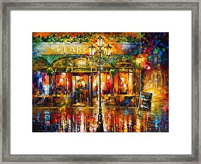 Clarens Misty Cafe Framed Print by Leonid Afremov