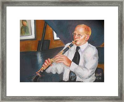 Clarinet At Palm Court Framed Print