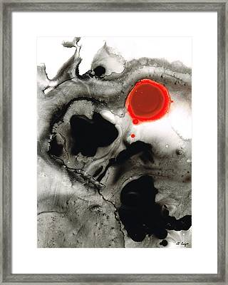 Clarity - Black And White Art Red Painting Framed Print by Sharon Cummings