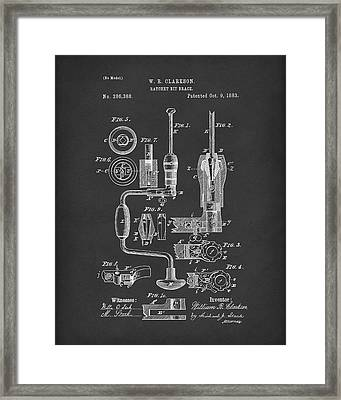 Clarkson Bit Brace 1883 Patent Art Black Framed Print by Prior Art Design