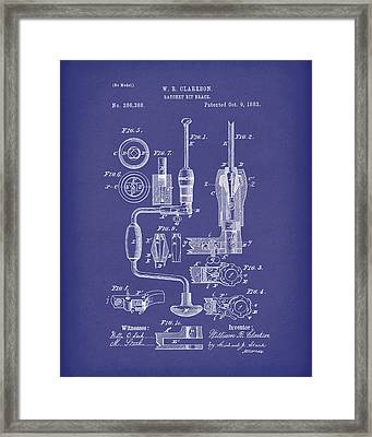 Clarkson Bit Brace 1883 Patent Art Blue Framed Print by Prior Art Design