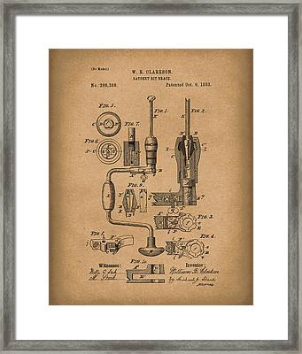 Clarkson Bit Brace 1883 Patent Art Brown Framed Print by Prior Art Design