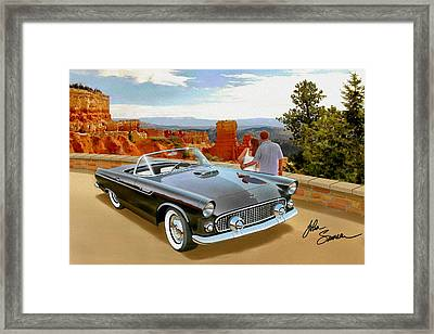 Classic 1955 Thunderbird At Bryce Canyon Black  Framed Print by John Samsen