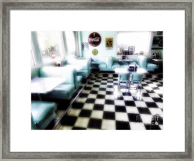 Classic American Diner Interior Framed Print by George Oze