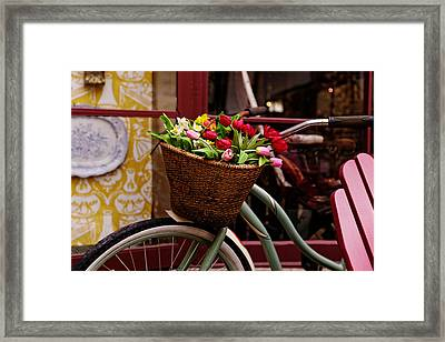Classic Bike With Tulips Framed Print
