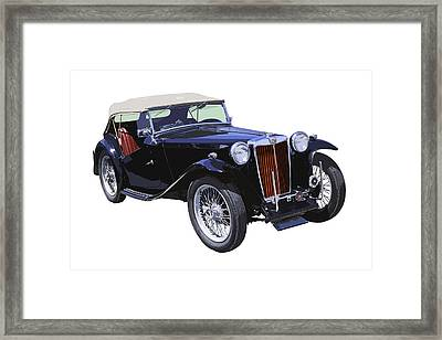 Classic Black Mg Tc Convertible British Sports Car  Framed Print by Keith Webber Jr