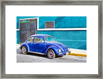 Classic Blue Volkswagen On The Streets Of Mexico Framed Print by Mark E Tisdale