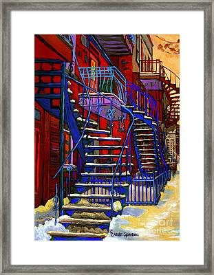 Classic Blue Winding Staircase Montreal Winter City Scene Painting  By Carole Spandau Framed Print by Carole Spandau