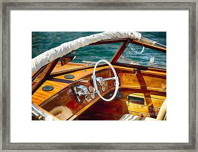 Classic Boat Lake Como Style Framed Print by George Oze