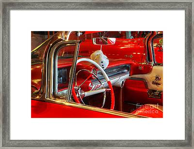 Classic Cadillac Beauty In Red Framed Print by Bob Christopher