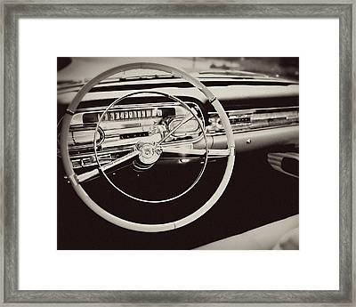 Classic Cadillac Steering Wheel And Dash Take The Wheel Framed Print by Lisa Russo