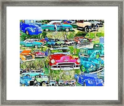 Classic Car Collage Framed Print by Marilyn Diaz