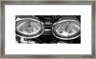 Classic Car Grill And Lights Framed Print by Mick Flynn