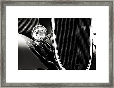 Classic Car Grille Black And White Framed Print by M K  Miller