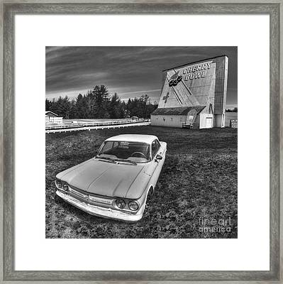Classic Car In Front Of Cherry Bowl Drive-in Framed Print